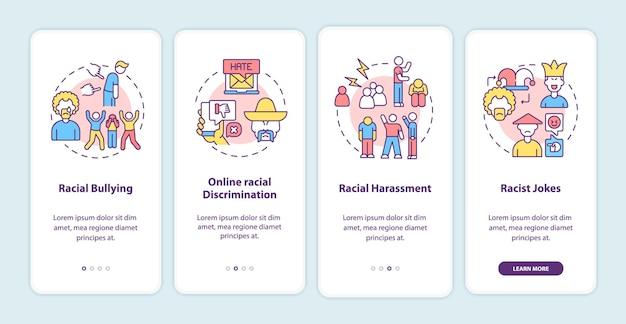Rassismus in sozialen situationen beim onboarding des bildschirms der mobilen app-seite.