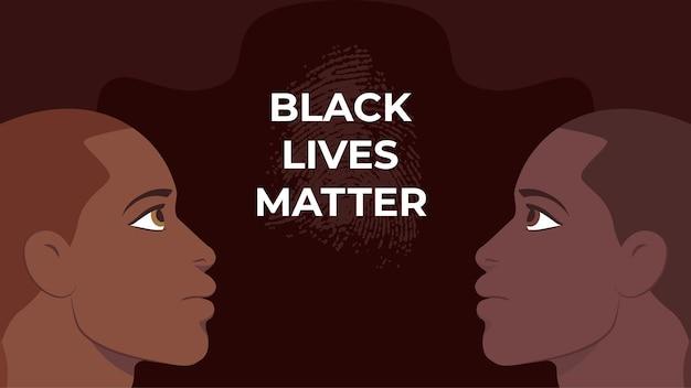 Rassismus-konzept - schwarz lebt materie - mann mit unterschiedlicher hautfarbe