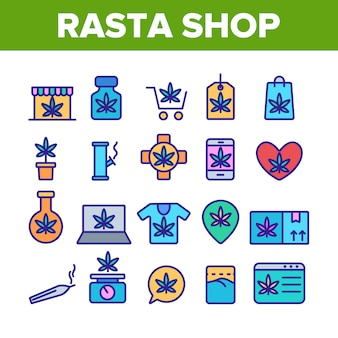Rasta shop elements icons set