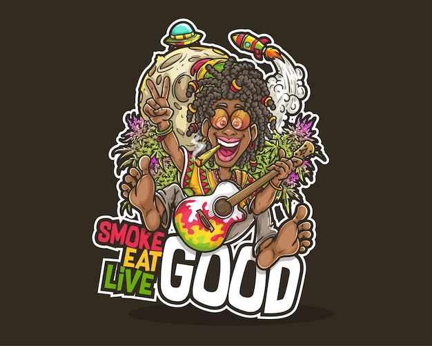 Rastafari illustration, unkraut cannabis rauch