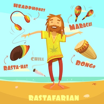 Rastafarian charakter illustration