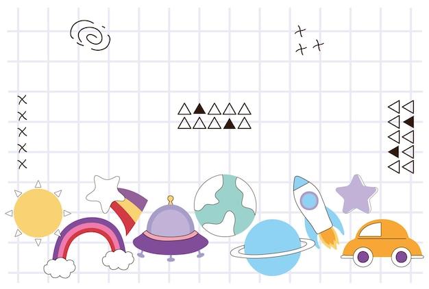 Raster mit doodle-elementen