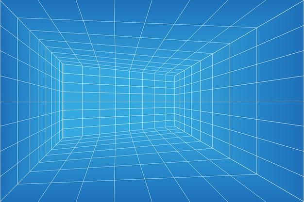 Rasterperspektive blaupausenraum. drahtmodell millimeterpapierhintergrund. digitales cyber-box-technologiemodell. vektorleere architekturschablone