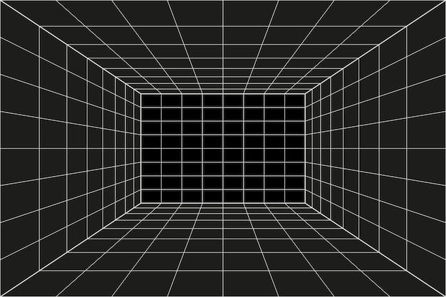 Rasterperspektive schwarzer raum. grauer drahtgitterhintergrund. digitales cyber-box-technologiemodell. vektor abstrakte architektonische vorlage