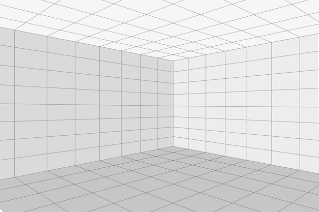 Rasterperspektive weiße raumecke mit grauem drahtgitterhintergrund. digitales cyber-box-technologiemodell. vektor abstrakte architektonische vorlage