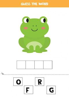 Rate das wort. niedlicher cartoonfrosch. lernspiel für kinder.