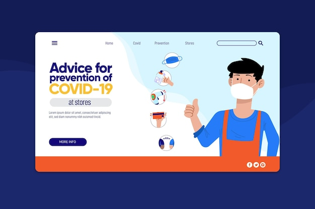 Ratschläge gegen die covid-19-zielseiten-webvorlage