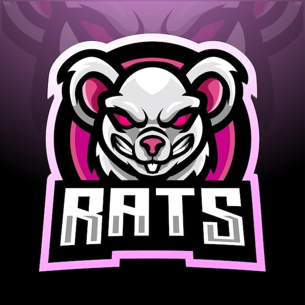 Ratten esport logo maskottchen design Premium Vektoren