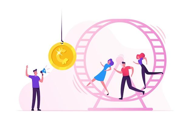 Ratten rennen. gestresste geschäftsleute geschäftsfrauen, die im hamsterrad laufen und versuchen, goldene münze zu erreichen, die am seil vor ihnen hängt. karikatur flache illustration