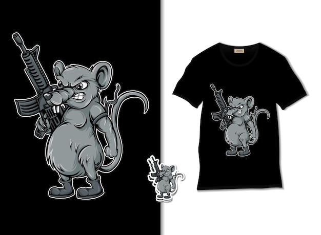 Ratten-soldat mit einer waffenillustration Premium Vektoren