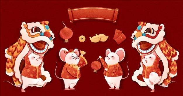 Rattenjahr-löwentanzfiguren im papierkunststil auf rotem hintergrund