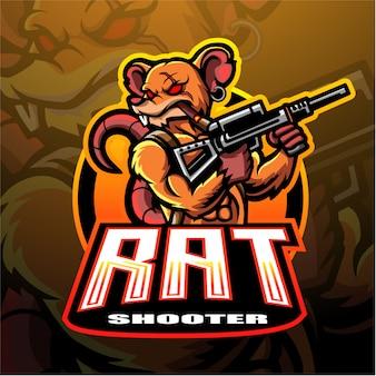 Rattenschützen-maskottchen-logo für elektronisches sportspiel-logo.