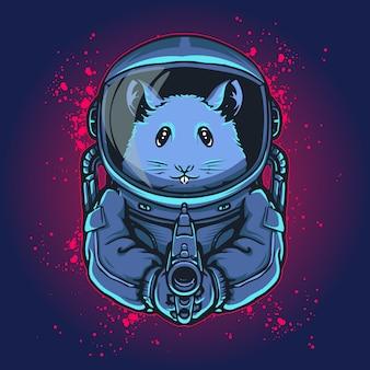 Rattenstronaut mit einer waffe in der hand