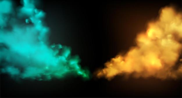 Rauch bühne vektor hintergrund. abstrakter blauer und goldener nebel. szenenkomposition. bühnenrauch, farbpulver für design-website