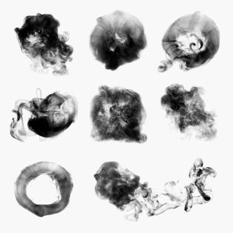 Rauch strukturierter elementvektor, im schwarzen realistischen designsatz