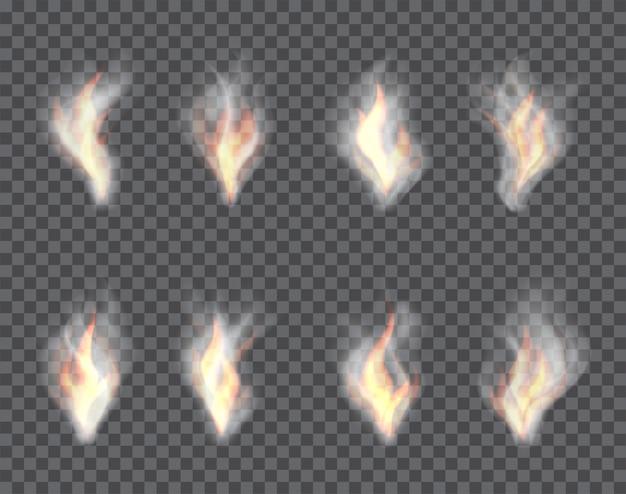 Rauch und feuer, set transparente effekte auf einem plaid