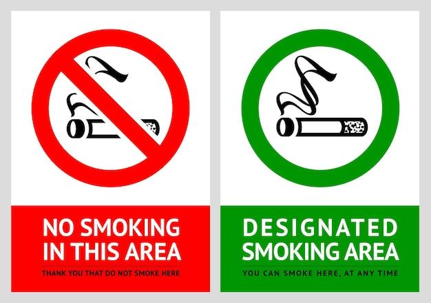 Rauchen verboten und raucherbereich etiketten