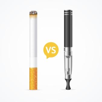 Rauchen vs dampfen. elektronische zigarette oder verdampfer und tabakzigarre. vektor-illustration