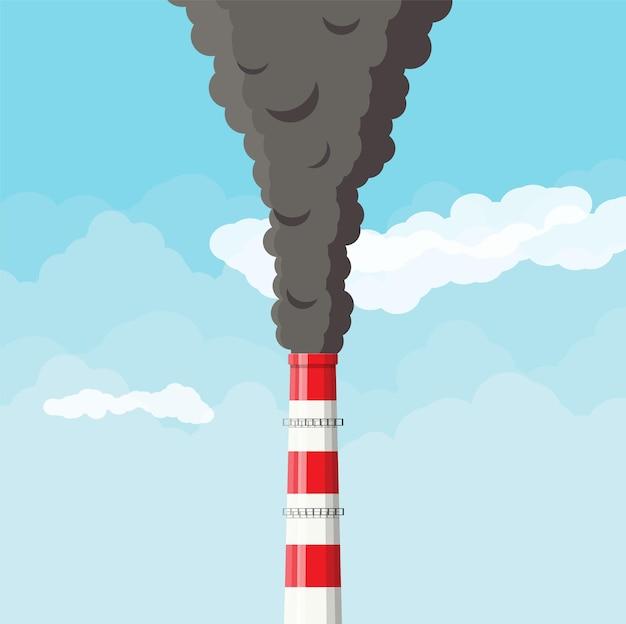 Rauchende fabrikpfeife gegen klaren himmel mit wolkenillustration