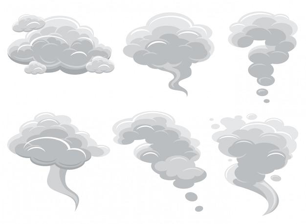 Rauchende wolken der karikatur und komische kumuluswolkenvektorsammlung