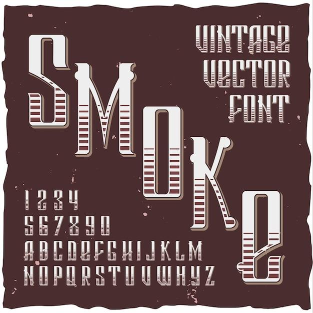Rauchhintergrund mit gotischer schriftart der weinleseart mit kunstvollem etikett und buchstabenillustration