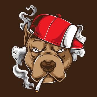 Rauchiger pitbull und logo