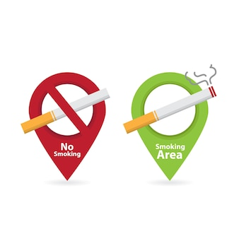 Rauchverbot und raucherbereich rauchen von zigaretten brandgefahr symbol abzeichen