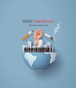 Rauchverbot und world no tobacco day karte mit vielen menschen und hand anti-zigarette in der stadt