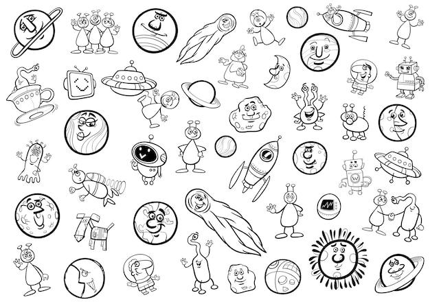 Raum cartoon-set färbung seite