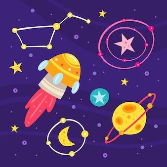 Raum flache illustration, satz von elementen, aufkleber, symbole. auf hintergrund isoliert. rakete, außerirdisches raumschiff, planet, stern, mond, sternbild, galaxie, wissenschaft. futuristisch. kosmos-karte.