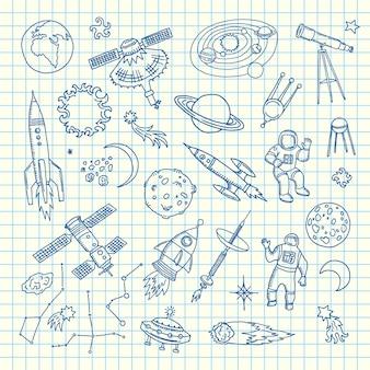 Raum gekritzelelemente. gezeichnete raumfähreelemente des vektors hand