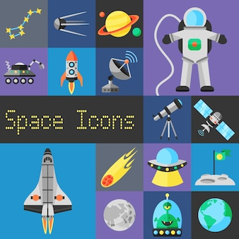 Raum-icons flach