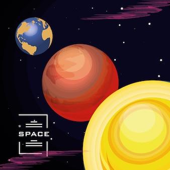 Raum mit erdplaneten-universumszene