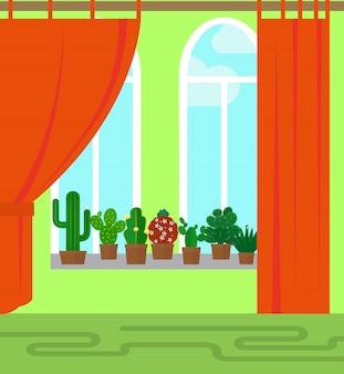 Raum mit fenster und kaktus