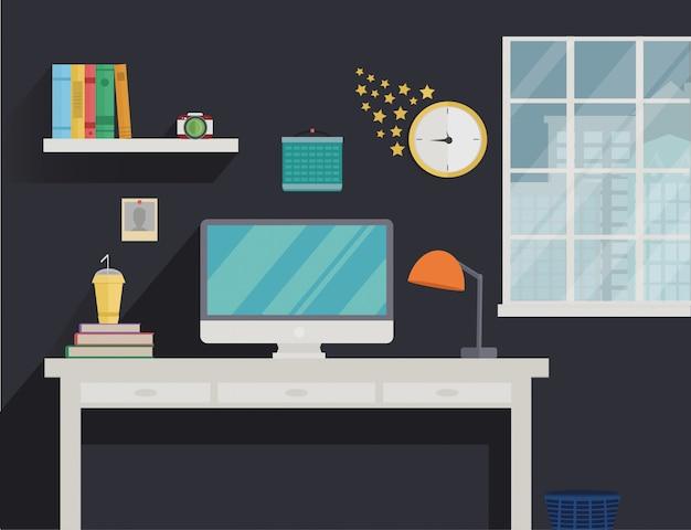 Raum mit fenster und langen schatten im minimalistischen stil.