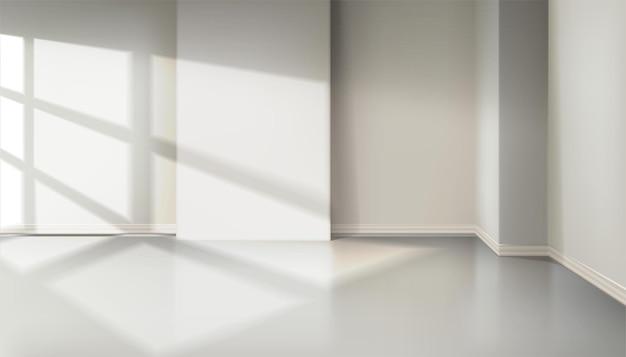Raum mit licht aus dem fenster. natürlicher schatteneffekt aus dem fenster von jalousie.