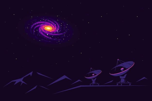 Raum mit radioteleskop und galaxienblick am himmel. weltraumforschungsbanner, erkundung der äußeren spase.