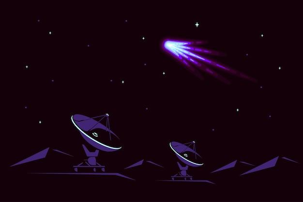 Raum mit radioteleskop und komet am himmel. weltraumforschungsbanner, erkundung der äußeren spase.