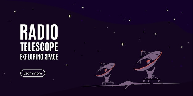 Raum mit radioteleskop. weltraumforschungsbanner, erkundung der äußeren spase.