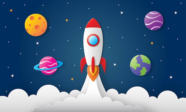 Raum nachthimmel. mond, sterne, rakete und wolken um mitternacht. papierkunst
