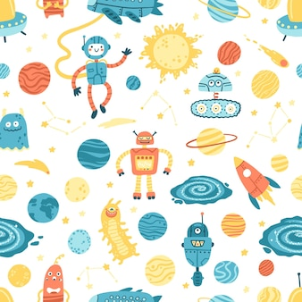 Raum nahtloses muster. galaxie, planeten, roboter und außerirdische.