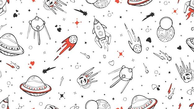 Raum nahtloses muster. vektor kinder nahtlose textur mit gekritzel rakete, planet, sterne. weltraum, universumsillustrationsrakete und planetenstern, asteroid