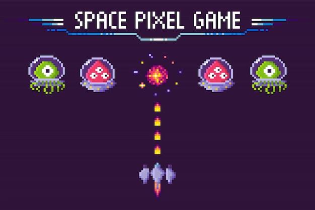 Raum pixel spiel aliens und raumschiff pixelated
