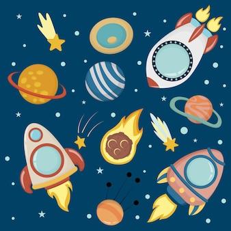 Raum, quadratische kindervektorillustration. raketen und planeten im flachen stil.