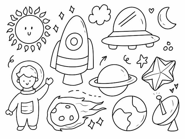 Raum- und astronautengekritzelkarikaturhandzeichnung. rocket und alien strichzeichnungen.