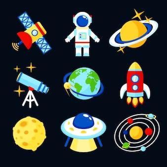 Raum-und astronomie-symbole satz von erde rakete mond astronaut isoliert vektor-illustration