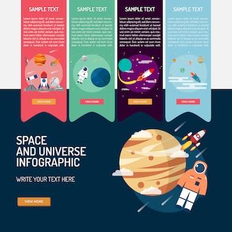 Raum und universum infografik-design Kostenlosen Vektoren