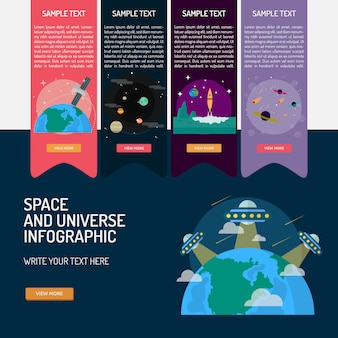 Raum und universum infografik-design