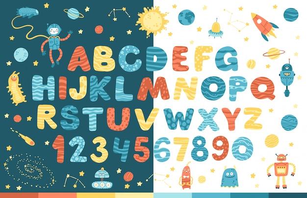 Raumalphabet im karikaturstil. vektor lustige komische buchstaben und zahlen. sieht gut aus auf weißem und dunklem hintergrund. moderne illustration für kinder, kinderzimmer, plakat, karte, geburtstagsfeier, baby-t-shirts