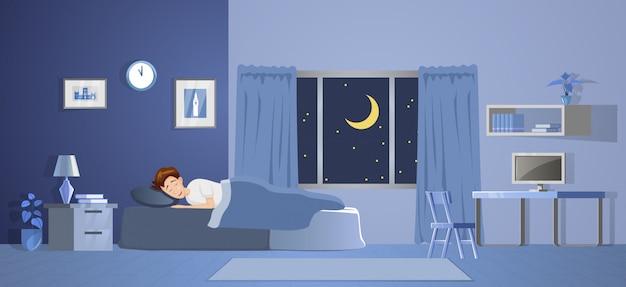 Raumdekoration des schlafzimmers mit gradientendesignillustration